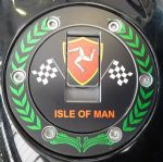 "TRIUMPH Petrol/Gas Cap. Aluminium Tank Decal: ""Isle of Man Crown"""